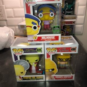 Funko Pop The Simpsons three-piece lot